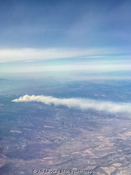 No idea where the smoke was coming from as we were nearing LAX...though we were still an hour or so out. It left quite a stream of smoke.